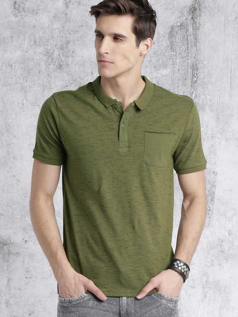 Roadster Men Olive Green Solid Polo T-shirt
