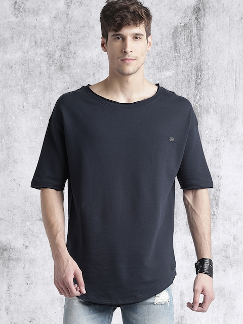 Roadster Men Navy Solid Round Neck T-shirt