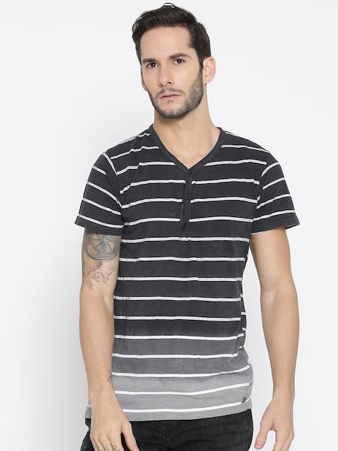 Roadster Men Black & White Striped V-Neck T-shirt