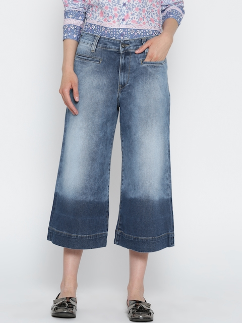 Pepe Jeans Women Blue Regular Fit Mid Rise Denim Culottes