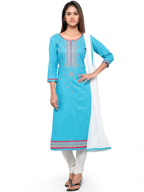 Kvsfab Blue & White Cotton Embroidered Unstitched Dress Material