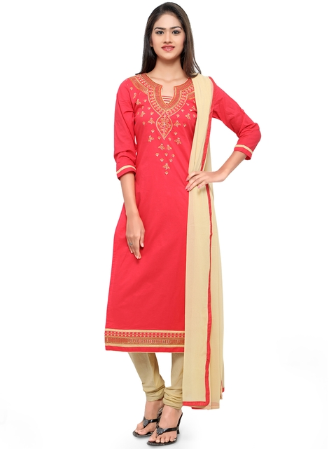 Kvsfab Pink & Beige Cotton Embroidered Unstitched Dress Material