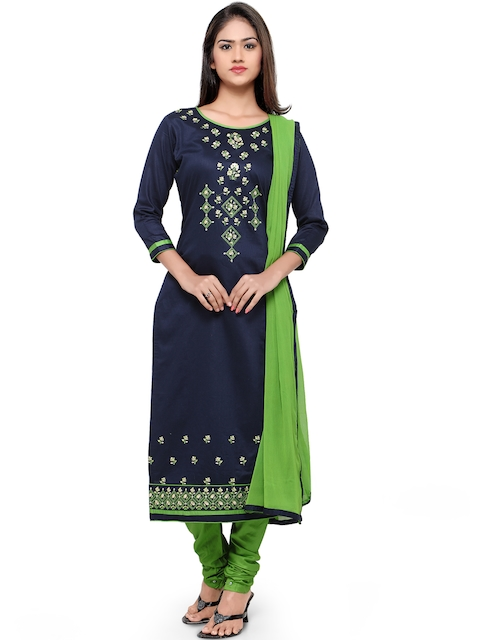 Kvsfab Navy & Green Cotton Embroidered Unstitched Dress Material