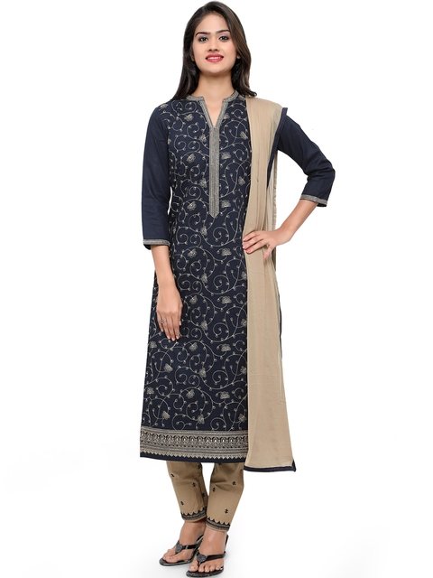 Kvsfab Navy & Beige Cotton Embroidered Unstitched Dress Material