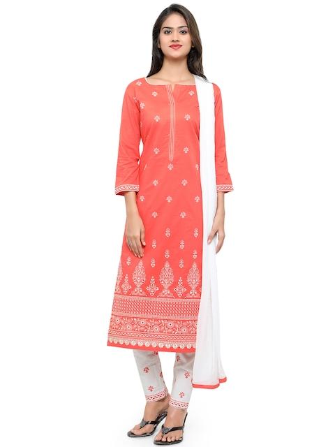 Kvsfab Orange & White Cotton Embroidered Unstitched Dress Material