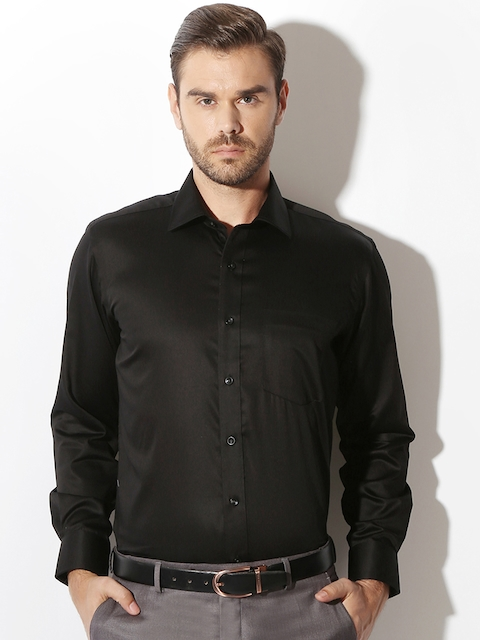 Van Heusen Men Black Slim Fit Formal Shirt
