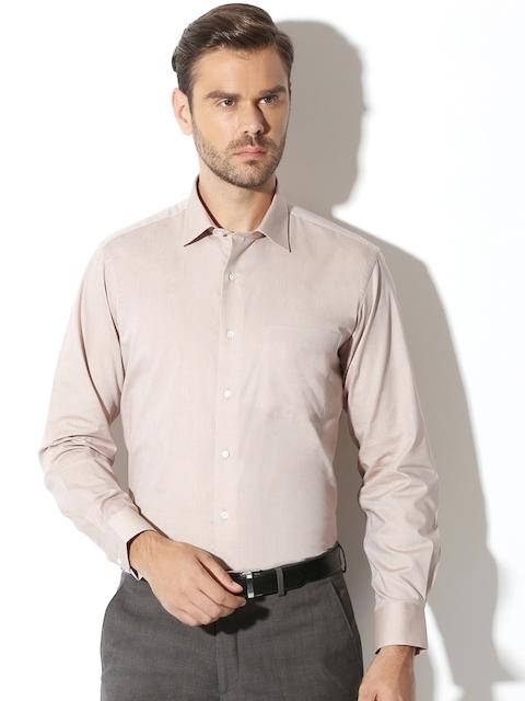 Van Heusen Men Beige Slim Fit Solid Formal Shirt
