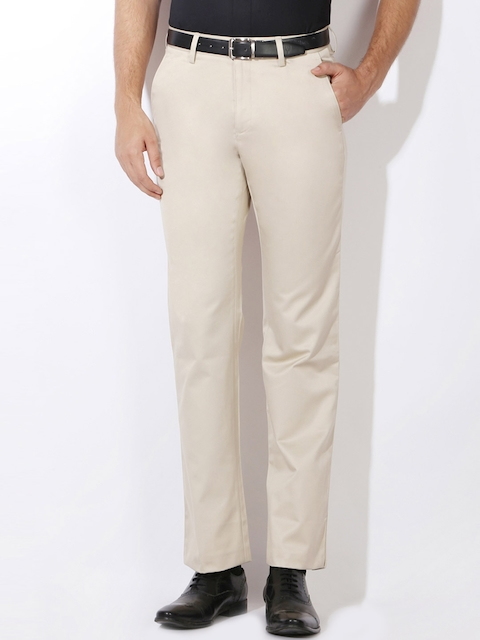 Van Heusen Men Beige Solid Regular Fit Regular Trousers
