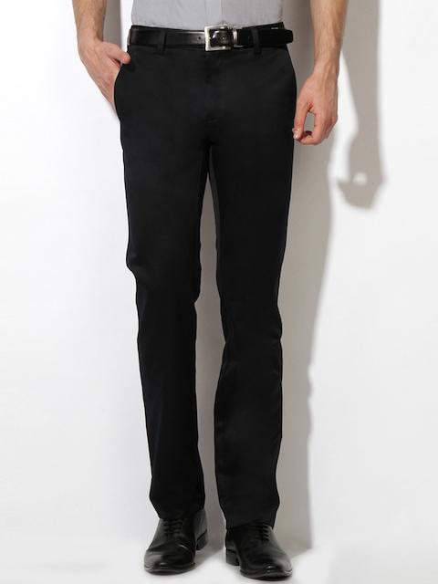 Van Heusen Men Black Solid Slim Fit Regular Trousers