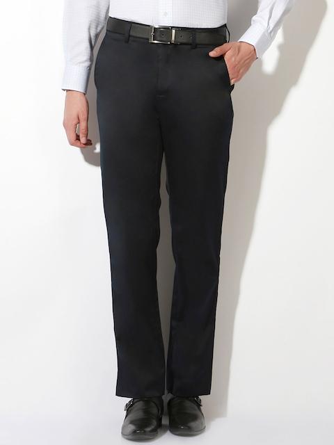 Van Heusen Men Black Solid Regular Fit Regular Trousers