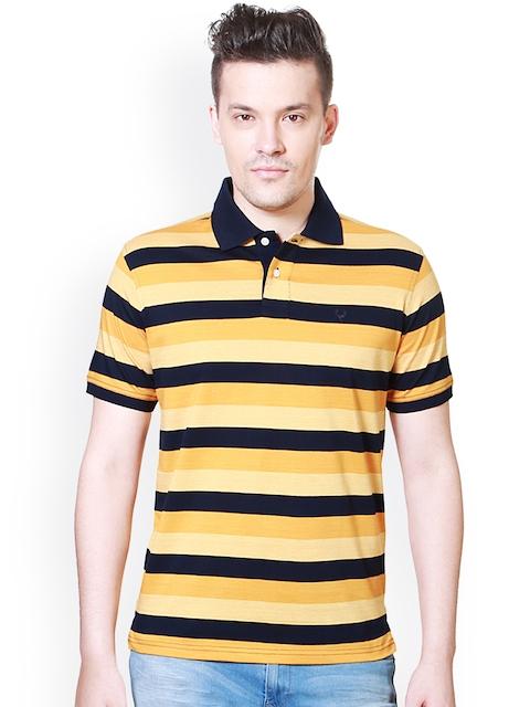 Allen Solly Men Yellow & Navy Striped Polo Collar T-shirt