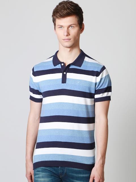 Allen Solly Men Blue & White Striped Polo T-shirt