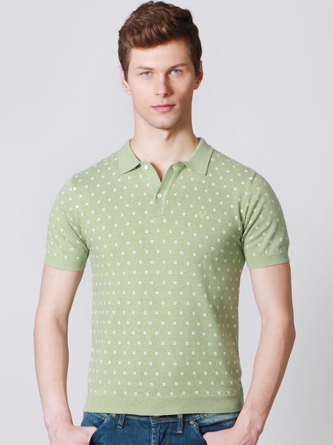Allen Solly Men Green Printed Polo T-shirt