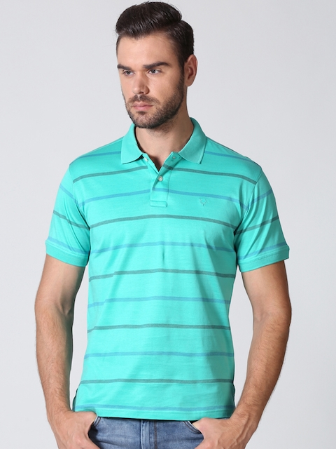Allen Solly Men Sea Green Striped Polo T-shirt