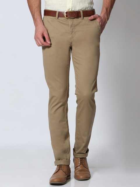 Allen Solly Men Beige Solid Slim Fit Regular Trousers