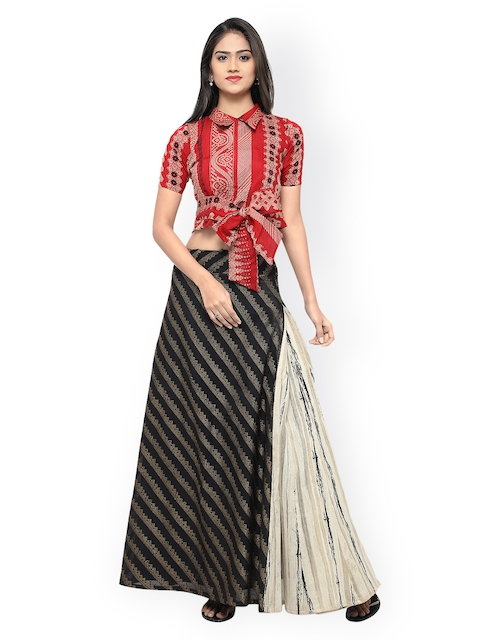 Inddus Black & Red Semi-Stitched Lehenga Choli