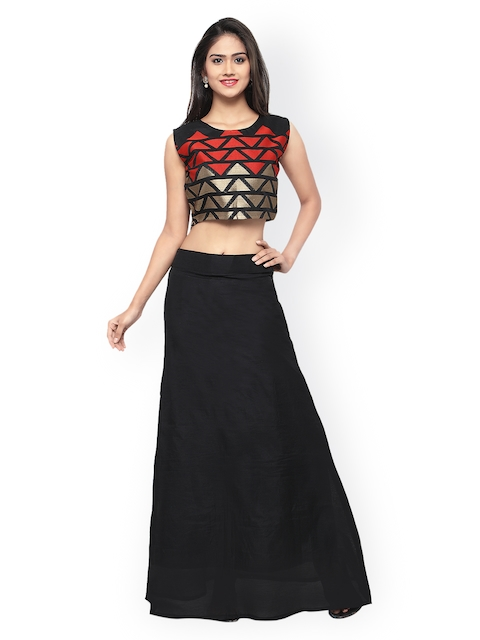 Inddus Black & Red Printed Semi-Stitched Lehenga Choli