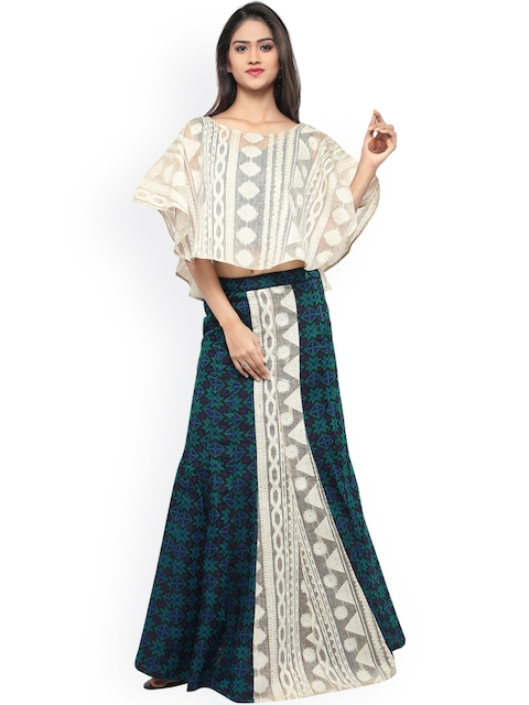 Inddus Off-White & Blue Semi-Stitched Lehenga Choli