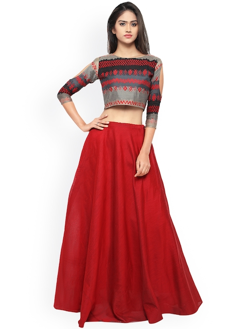 Inddus Red & Grey Semi-Stitched Lehenga Choli