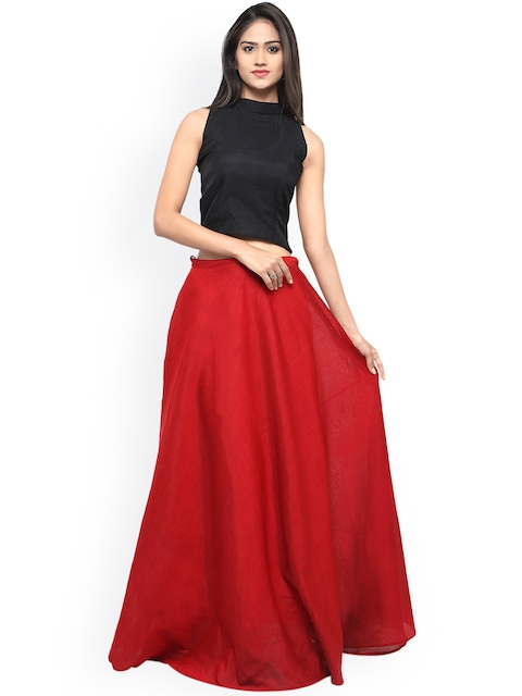 Inddus Red & Black Semi-Stitched Lehenga Choli