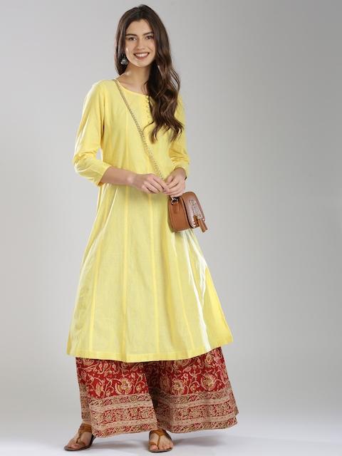 Fabindia Women Yellow Woven A-Line Kurta