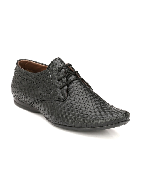 John Karsun Men Black Basketweave Semiformal Shoes