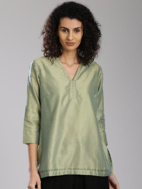 Fabindia Green Silk A-Line Kurti with Zari Work