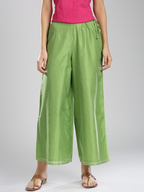Fabindia Women Green Solid Regular Fit Parallel Trousers