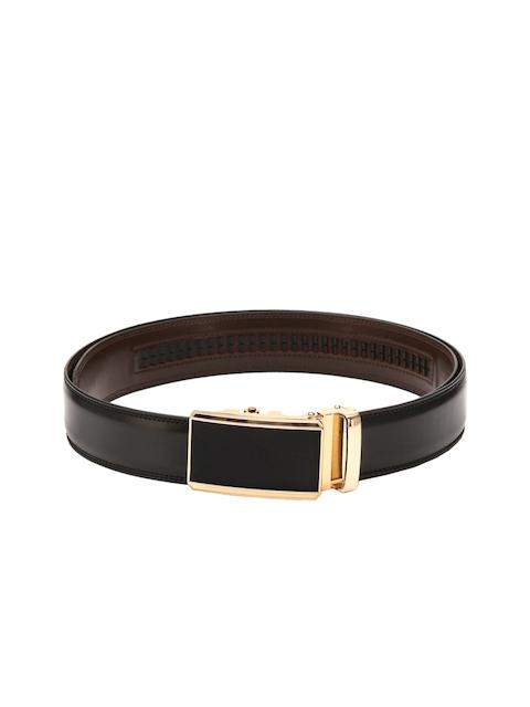 Pacific Gold Men Black Spanish Leather Belt