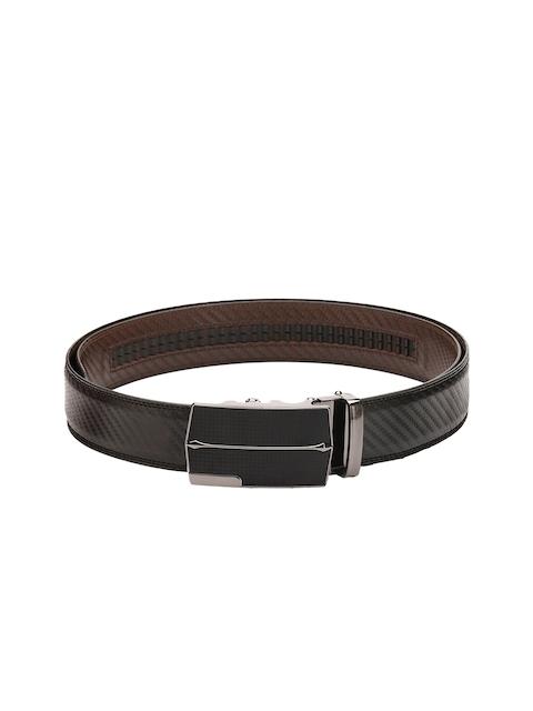 Pacific Gold Men Black Patterned Spanish Leather Belt