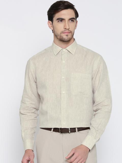 Wills Lifestyle Men Beige Linen Solid Semiformal Shirt