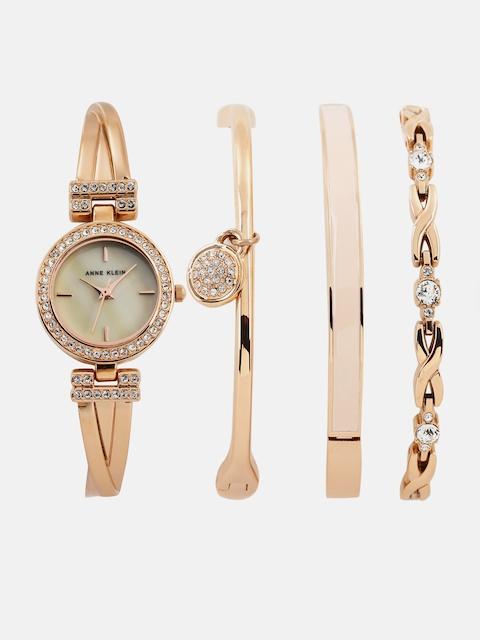 ANNE KLEIN Women Cream-Coloured Analogue Watch with 3 Bracelets AKB2238RGSTJ
