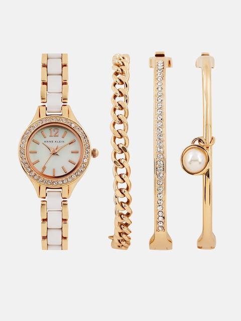 ANNE KLEIN Women Pearly White Analogue Watch with 3 Bracelets AKB1954RGSTJ