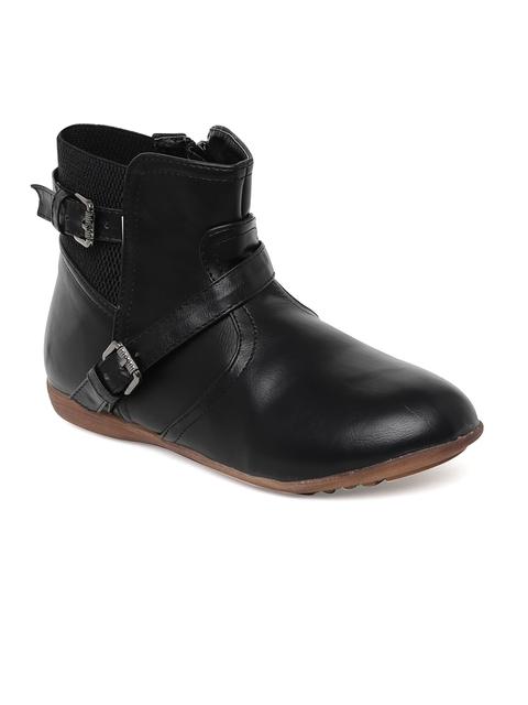 Bruno Manetti Women Black Mid-Top Flat Boots