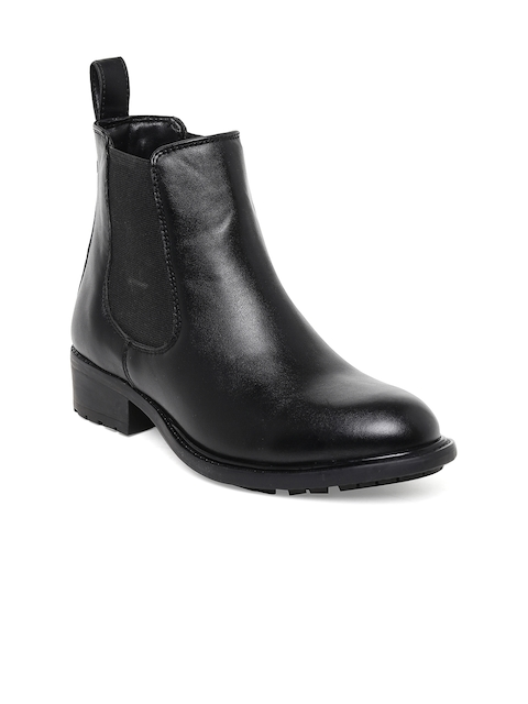 Bruno Manetti Women Black Solid High-Top Flat Boots