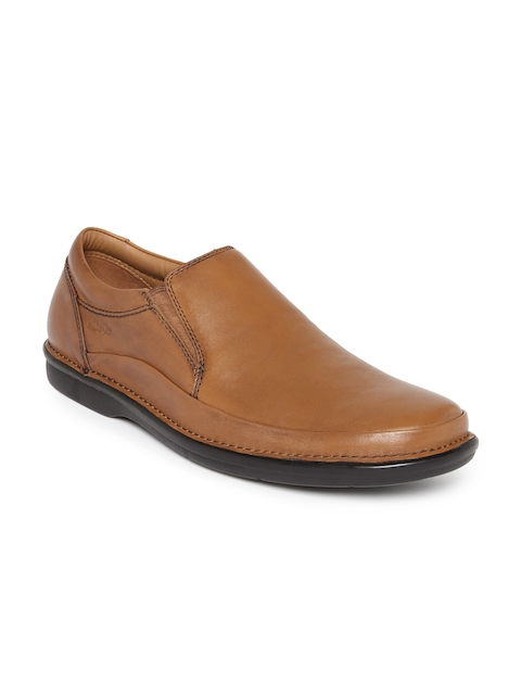 Clarks Men Tan Brown Leather Semiformal Slip-Ons