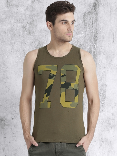 Roadster Men Olive Green Printed Round Neck T-shirt  available at myntra for Rs.199