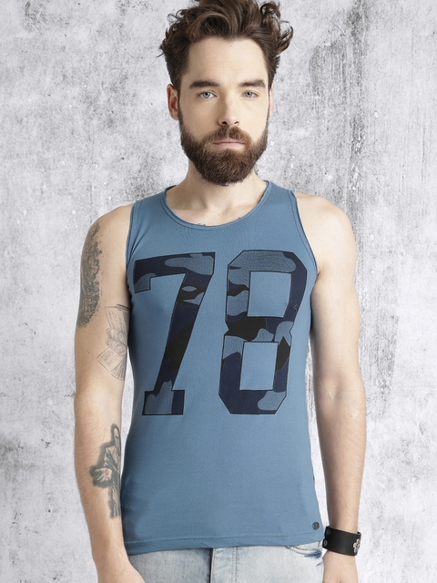 Roadster Men Blue Printed Round Neck T-shirt  available at myntra for Rs.199