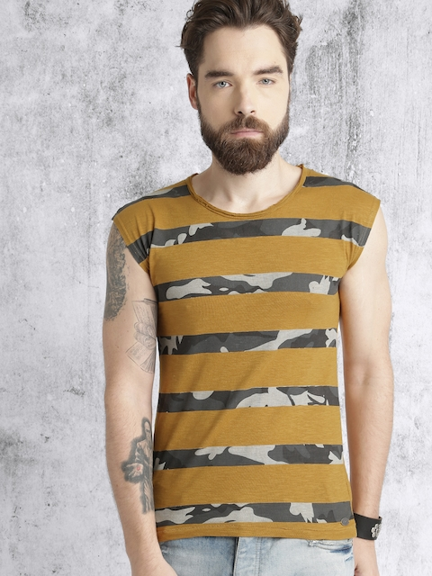 Roadster Men Mustard Yellow & Green Striped Round Neck T-shirt  available at myntra for Rs.149