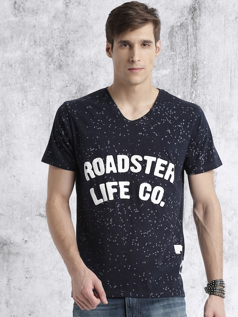 Roadster Men Navy Blue Printed V-Neck T-shirt
