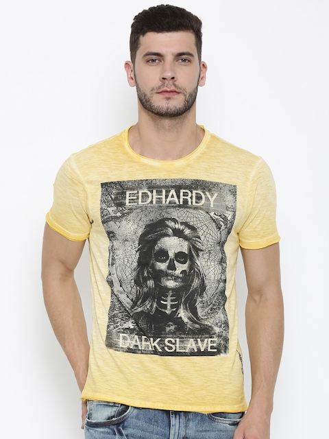 Ed Hardy Men Yellow Printed Round Neck T-shirt