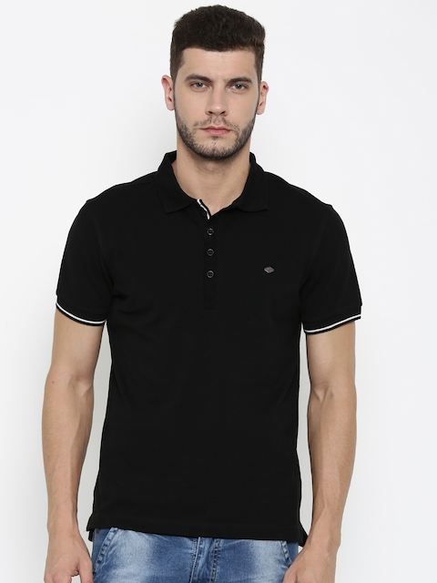Ed Hardy Men Black Solid Polo Collar T-shirt