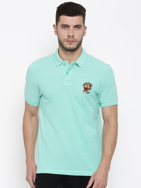 Ed Hardy Men Sea Green Solid Polo Collar T-shirt