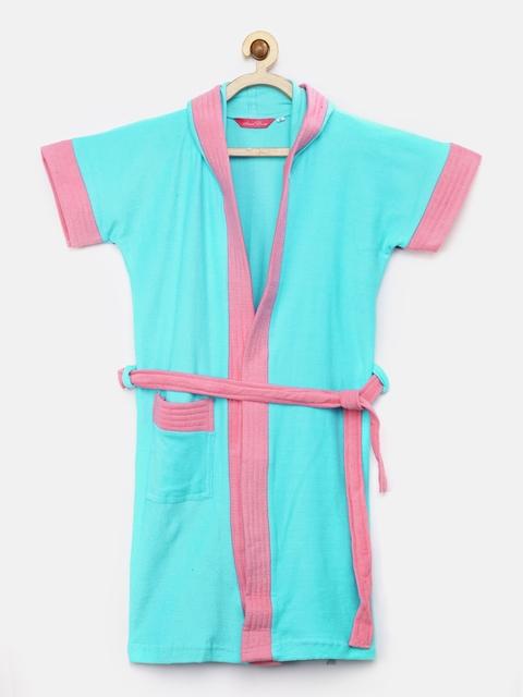 Sand Dune Girls Light Blue & Pink Hooded Bath Robe