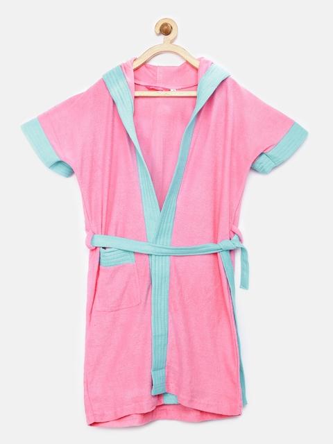 Sand Dune Girls Pink & Blue Hooded Bathrobe