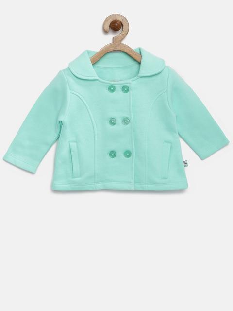 FS Mini Klub Girls Sea Green Solid Open-Front Jacket