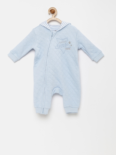 FS Mini Klub Infant Boys Blue Quilted Hooded Rompers