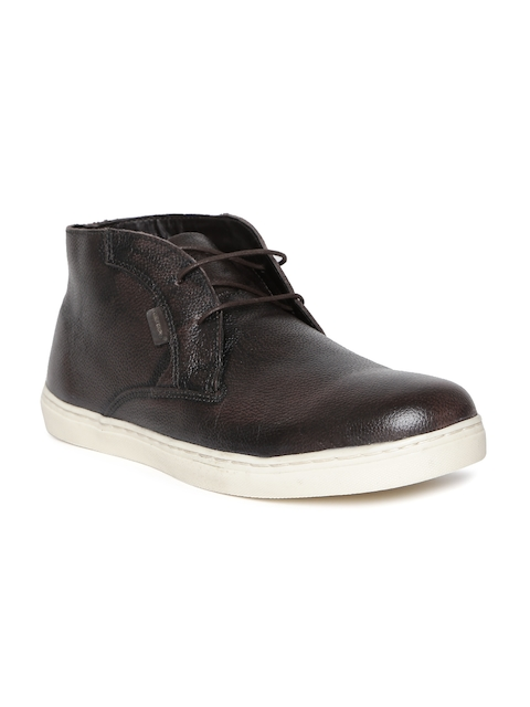 Red Tape Men Coffee Brown Mid-Top Flat Boots
