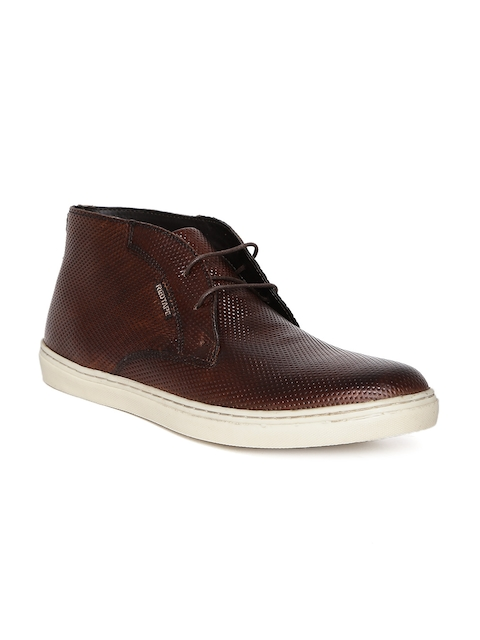 Red Tape Men Brown Textured Mid-Top Flat Boots