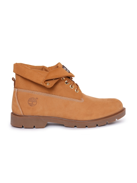Timberland Men Tan Brown Solid Suede Mid-Top Flat Boots